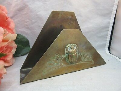 Vtg Benedict Karnak brass Art Deco Egyptian Revival letter holder.Scarab