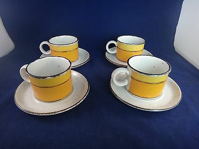MIDWINTER Stonehenge SUN Cups & Saucers ~SET OF 4 ~ MADE IN ENGLAND~