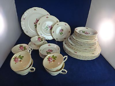 Syracuse China VICTORIA Service for 6 plus Serving Pieces ~RED ROSES~