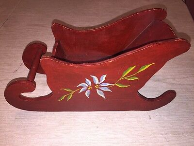 Vintage Handmade  Wooden Santa Sleigh Red with Painted Flowers Christmas Decor