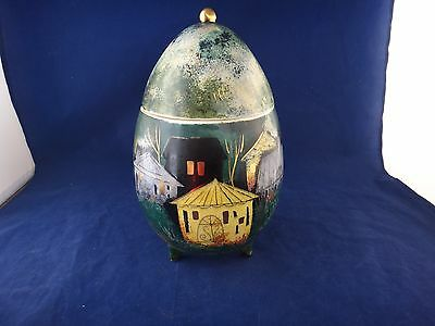 "Sascha Brastoff 10"" Egg/orb Covered Footed Trinket Box ~Signed `"