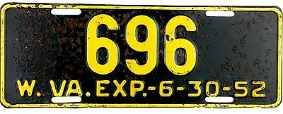 1952 West Virginia License Plate #696 LOW 3 DIGIT PALINDROME