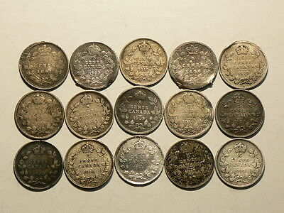 Canada, Lot Of 15 Silver Five 5 Cents, All CULLS!!  #6476