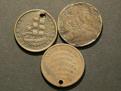 US, Lot Of 3 Copper Tokens, Hard Times, 1841 & 1837  #6481