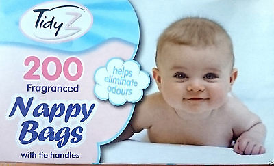 200 pk Tidy Z Disposable Tie Handle Nappy Bags Fragranced Scented Baby Changing