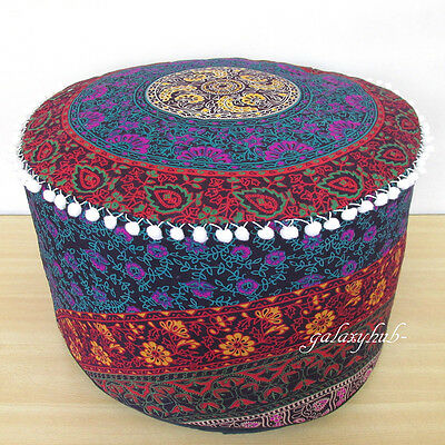 40 LARGE MULTI Color Indian Pouf Cover Footstool Cotton Seat Cool Indian Pouf Covers