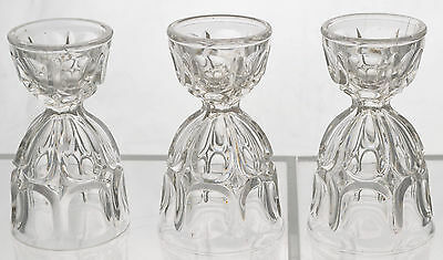 Set of 3 Rare Excelsior Pattern Flint Glass EAPG Double Egg Cups 1860