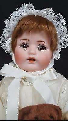 MAX HANDWERK Bebe Elite German Bisque Doll  Antique 13 inches White Gown