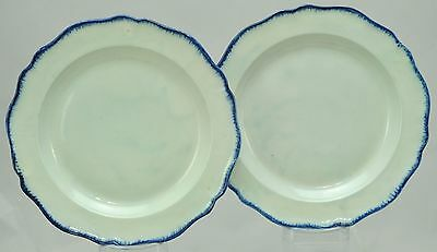 Pair Antique 10 Inch Blue Chippendale Shape Feather Edge Pearlware Plates 1790