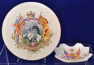 Antique Edward VII Coronation Pottery Tea Trivet Souvenir 1902
