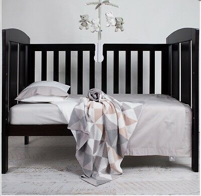 Living Textiles 2 Piece Plain Grey And White Cot Quilt Cover & Pillowcase. New.