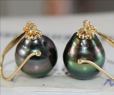 Gorgeous AAA 12-14mm real natural Tahitian black green baroque pearl earring 14k
