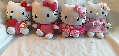 Lot of (4) Hello Kitty /hello Kitty TY Plush Toys/ With/Without Tags