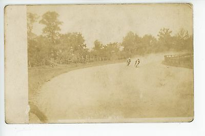 """""""Rounding the Bend"""" Motorcycle Race RPPC Rare Antique Photo—Indianapolis"""