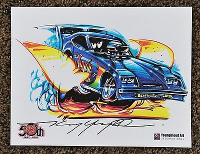 50Th Kenny Youngblood Signed Jungle Jim Nitro Funny Car Dragster Print