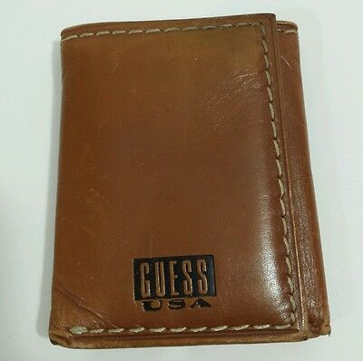Vtg 90s GUESS Brown Genuine Leather Wallet Made in USA Flag Logo
