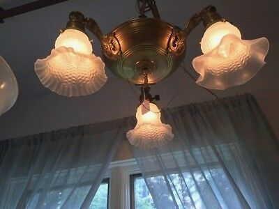 Vintage 1930's Brass Pan Light, 3-light Ceiling Fixture with glass shades