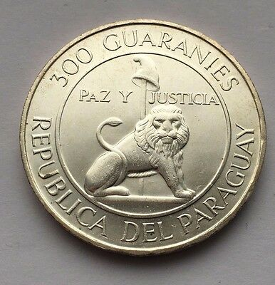 1968 Paraguay Silver 300 Guaranies Coin