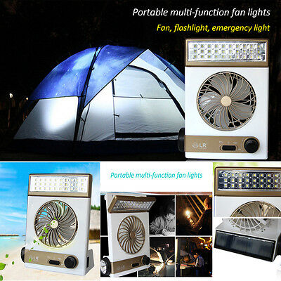Rechargeable Solar Tragbare Kühl Air Vent Fan Ventilator W/ LED Light for Tent