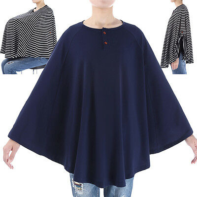Soft Comfy Cotton Top Maternity Nursing Poncho Breastfeeding Cover Cape Casual