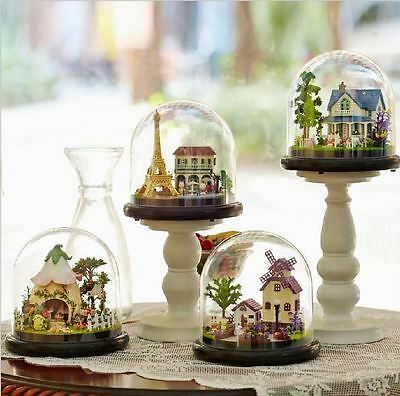 Miniature Doll House DIY Kit Home Decor Gift Craft toy Transparent Cover Scene