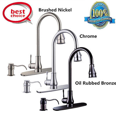 18 16 Kitchen Sink Faucet Chrome Pull Out Spray Swivel Spout