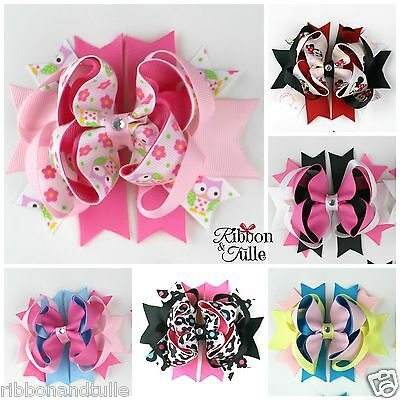 Boutique Stacked Hair Bows baby girl accessories ribbon alligator clip 7-styles