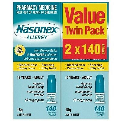 Nasonex Allergy Nasal Spray 140 Dose Twin Pack