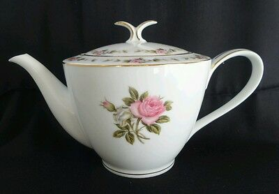 VIntage Noritake RC Japan 210 Pink Roses Large Teapot Milk jug Sugar bowl