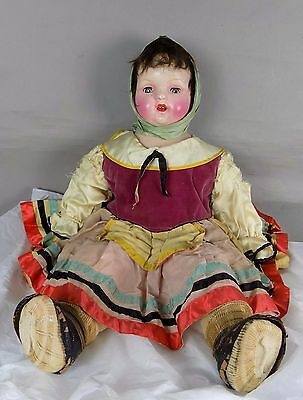 Antique Russian Composition Cloth Mama  Type Doll Original Old Dress