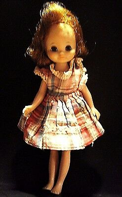 """Betsy McCall Tiny Doll 8"""" Movable Eyelids Legs Arms Plaid Dress 1950s VINTAGE"""