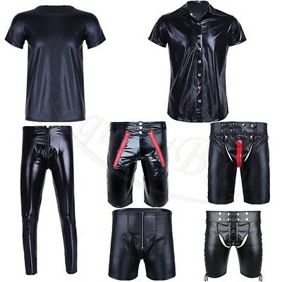 Cool Men's Leather Wet Look Sexy Short Sleeve Undershirt T-Shirt Top Size M-2XL