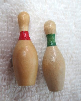 Pair of Older Carved Wood Button Pair of Bowling Pins Red & Green 1 1/8""