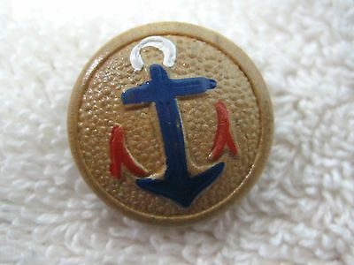"Older Molded Wood Button  Red White & Blue Anchor 3/4"" Nautical"
