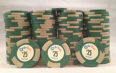 100 Carib Inn Real Casino Poker Chips Rare Mold HC Edwards San Juan PR Caribe