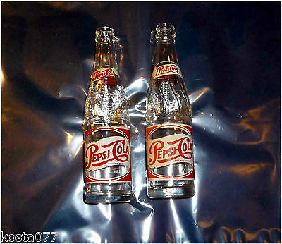 2 x Vintage 1953, PEPSI-COLA Bottles, EMBOSSED GLASS, 10Fl. Oz., Painted Label
