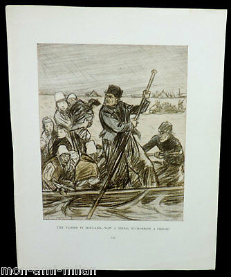 VINTAGE World War One WW1 LOUIS RAEMAEKERS Cartoon Print THE FLOODS IN HOLLAND