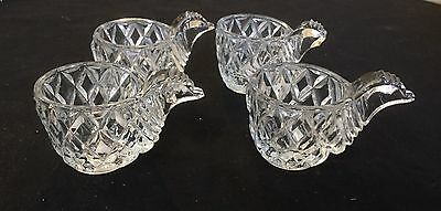 Egg Cups X 4 Crystal With Chicken Head Shaped Handles - One Chipped