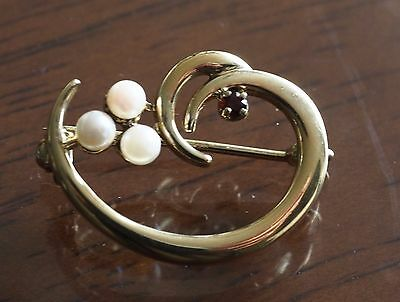 925 Gold Coated Garnet and Seed Pearl  Brooch  Estate Jewellery