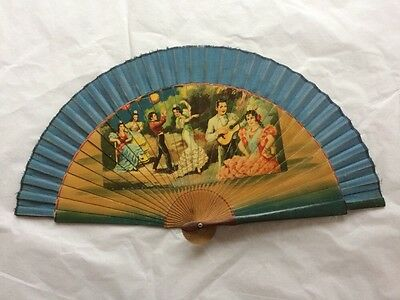 Vintage 30s Fan Spanish Wood & Linen Hand Painted Fabulous Retro 1930s Accessory