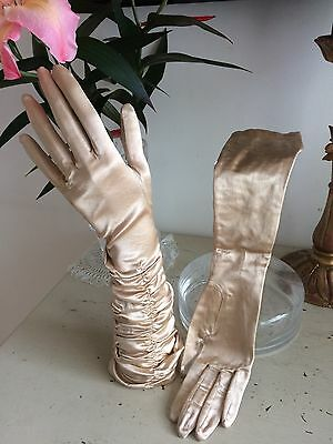 Vintage 40s Over Elbow Length Gloves Gold Satin Ruched Glam Burlesque Pinup WWII