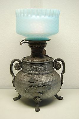 Antique Aesthetic Movement Arts Crafts Oil Glass Grasshopper Whimsical Blue Lamp