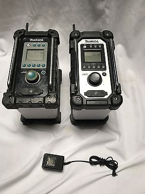 Lot Of TWO Makita Job Site Radio XRM02 & BMR100 W/ One A/C Adapter Used Shipped