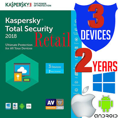 Kaspersky Total Security 2018 2 Year Antivirus 3 User Android Windows Mac iOS