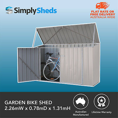 Absco Garden Bike Shed 2.26m x 0.78m x1.31m Storage Outdoor Sheds Zincalume