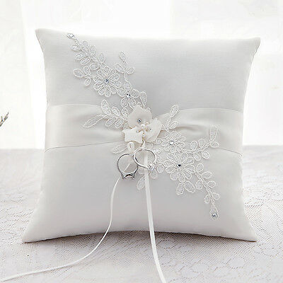 New Wedding Ceremony Stain Flower Ivory/White Ring Pillow Cushion