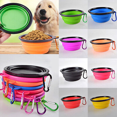 1pc Portable Pet Dog Silicone Folding Travel Feeding Bowl Food Water Feeder Dish