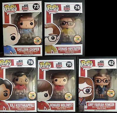 The Big Bang Theory Exclusive Funko Pop Sdcc Limited Rare Toy Pack Set Full