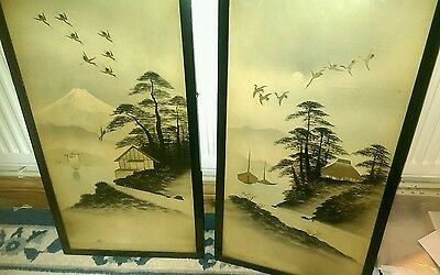 A pair of stunning framed japanese ink paintings ebonised frames