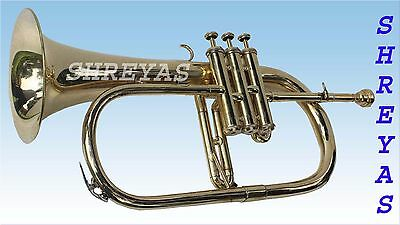 FLUGEL HORN 3 VALVE Bb PITCH BRASS WITH FREE HARD CASE AND MP